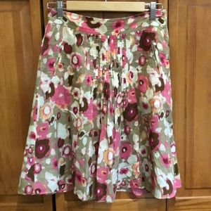 Banana Republic Lined Floral Skirt Side Zip